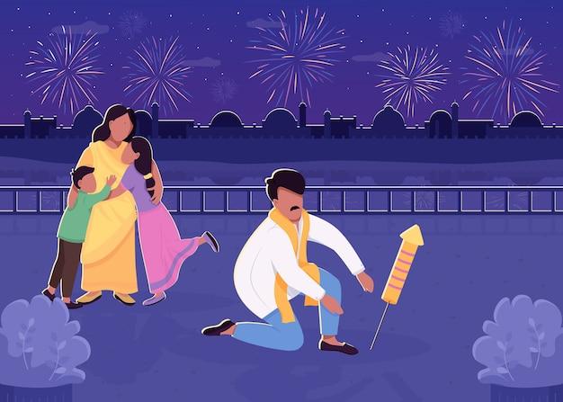 Indische familie mit flacher feuerillustration des feuerwerks. traditionelle divali feier. mutter und vater mit kindern 2d-zeichentrickfiguren mit nachtstadtbild auf hintergrund