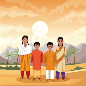 Indische familien-indien-karikatur