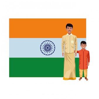 Indische familienavatara-zeichentrickfilm-figur
