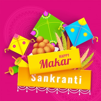 Indische festival makar sankranti feier banner