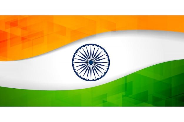 Indische flagge banner mit geometrischem muster