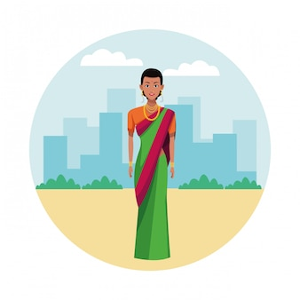 Indische frau, die traditionelle hinduistische kleidung trägt