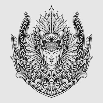 Indische frauen gravur ornament