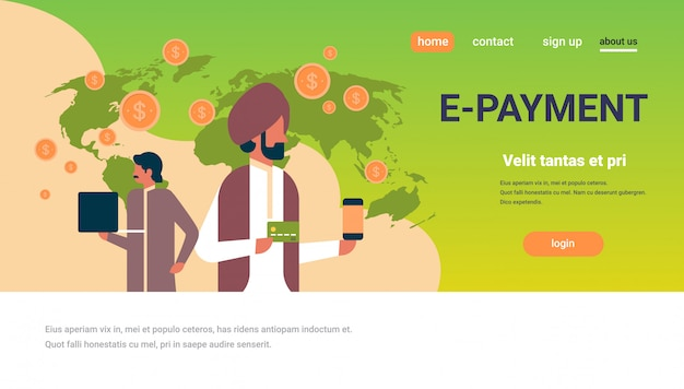 Indische geschäftsleute e-payment geldtransaktion banner