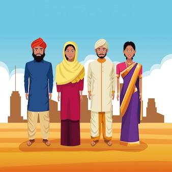Indische gruppe der indien-karikatur