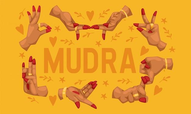 Indische handyoga-meditationsfinger des mudra-musters gestikulieren entspannungsharmonie