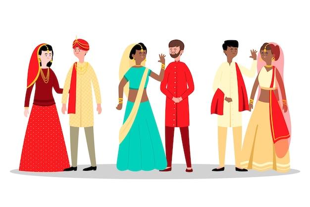 Indische hochzeitscharakter-sammlung