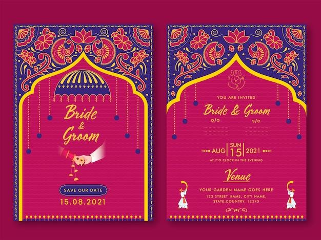 Indische hochzeitseinladung vorlage layout mit veranstaltungsdetails in rosa und blauer farbe.