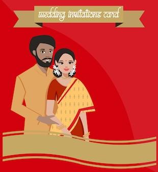Indische hochzeitspaare im traditionellen kleid.