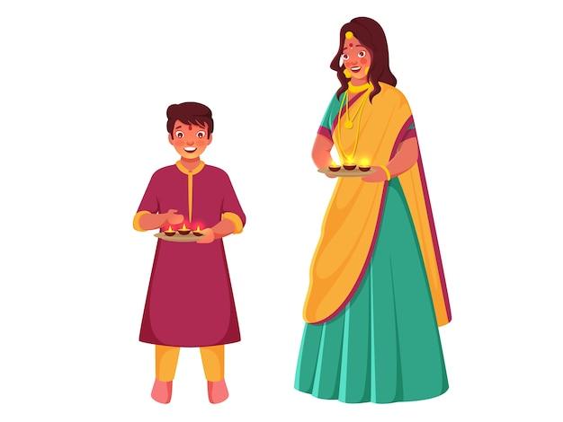 Indische junge frau mit ihrem sohn