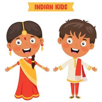 Indische kinder, die traditionelle kleidung tragen