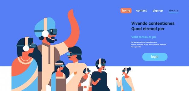 Indische leute, die konzeptkopfhörerteam der virtuellen realität vr gläser tragen