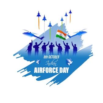 Indische luftwaffe dayvector illustration der indischen jet-flugshows auf abstraktem hintergrund