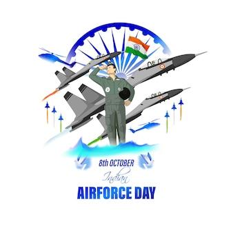 Indische luftwaffe tag-vektor-illustration von indischen jet-flugshows auf abstraktem hintergrund
