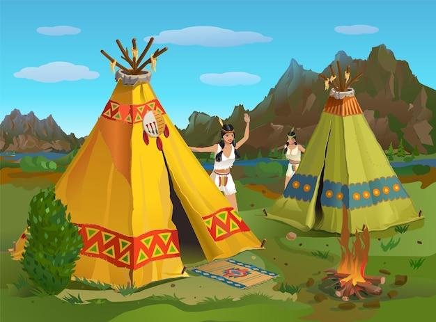 Indische mädchen auf dem rasen nahe dem wigwam in den bergen von amerika an einem sommerabend leben eines indianischen stammes Premium Vektoren