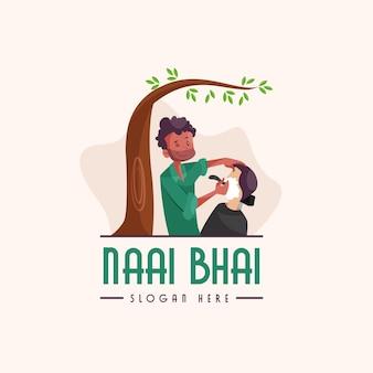 Indische naai bhai maskottchen logo vorlage