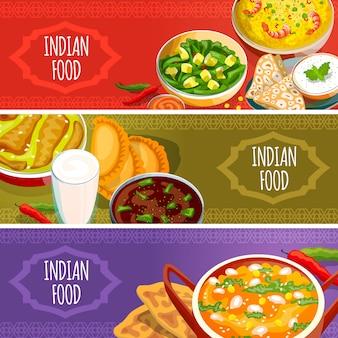 Indische nahrungsmittelhorizontale fahnen eingestellt