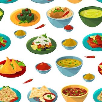 Indische nationale lebensmittel. lebensmittel-hintergrundillustration des nahtlosen musters des vektors indische