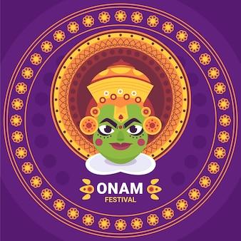 Indische onam-illustration der karikatur