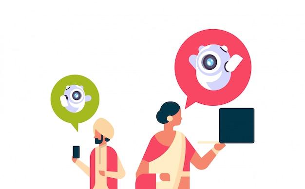 Indische paar mann frau chatbot roboter kommunikationsbanner
