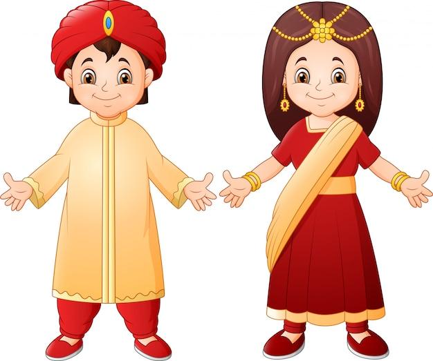 Indische paare der karikatur, die traditionelle kostüme tragen