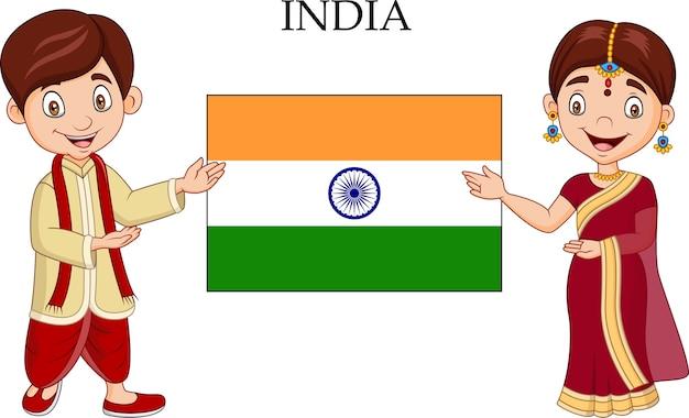 Indische paare der karikatur, die traditionelles kostüm tragen