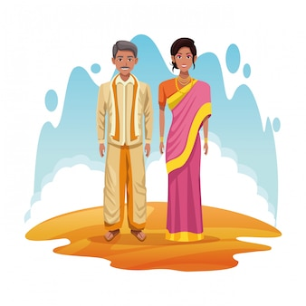 Indische paare von indien-karikatur