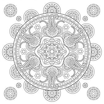 Indische paisley-gekritzelhand gezeichnete mandala