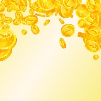 Indische rupie-münzen fallen. elegante verstreute inr-münzen. indien geld. bemerkenswertes jackpot-, reichtums- oder erfolgskonzept. vektor-illustration.