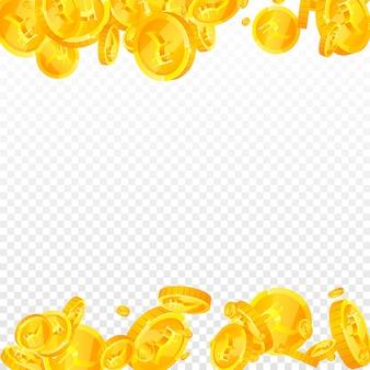 Indische rupie-münzen fallen. tatsächliche verstreute inr-münzen. indien geld. fantastisches jackpot-, reichtums- oder erfolgskonzept. vektor-illustration.
