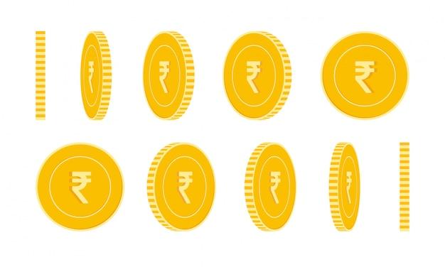 Indische rupie münzen gesetzt, animation bereit. rotation der inr-gelbmünzen. indien metallgeld in verschiedenen p