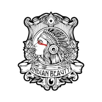 Indische schönheitsabzeichen