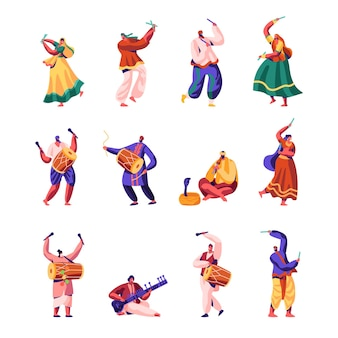 Indische straßenkünstler set.