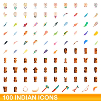 Indische symbole gesetzt. karikaturillustration der indischen ikonen gesetzt auf weißem hintergrund