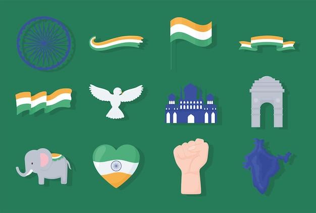 Indische symbole gesetzt