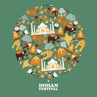 Indische symbole in runder rahmenkomposition,