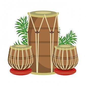 Indische tabla-trommeln mit blättern