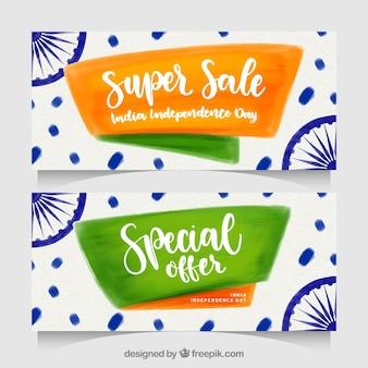 Indische Unabhängigkeitstag-Verkaufsfahnen des Aquarells