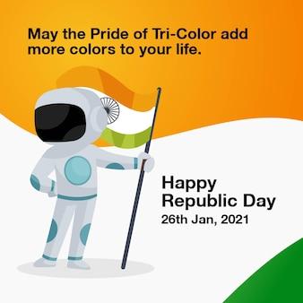 Indischer astronaut hält die indische flagge in der hand.