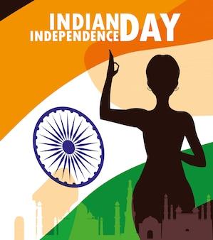 Indischer aufkleber des unabhängigkeitstags mit schattenbildfrau