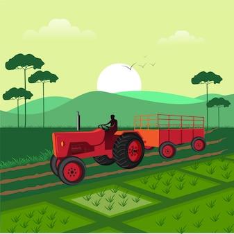 Indischer bauer mit isometrischer ansicht des traktors