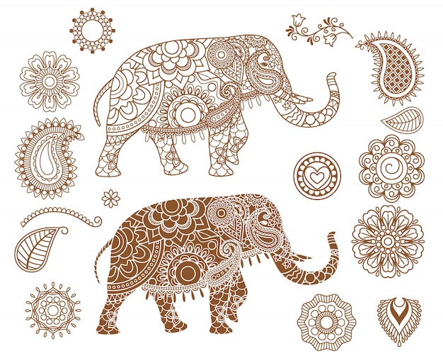 Indischer elefant mit mehendi-mustern