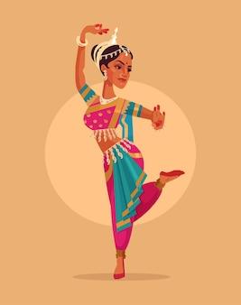 Indischer glücklicher fraucharakter tanzt in traditioneller kostümkarikaturillustration
