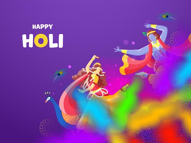 Indischer gott krishna und radha feiern holi festival