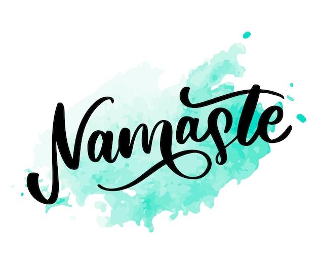 Indischer gruß namaste-beschriftung, hallo in der kalligraphischen hindi-t-shirt hand beschriftet. inspirierende typografie.