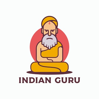 Indischer guru-logo-vektor