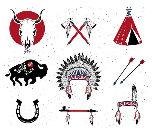 Indischer häuptling kopfschmuck, indischer häuptling maskottchen, indischer stammes-kopfschmuck, indischer kopfschmuck.