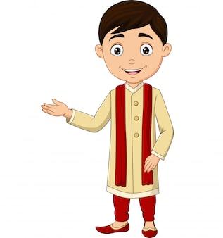 Indischer junge der karikatur, der traditionelles kostüm trägt