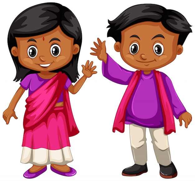 Indischer junge und mädchen, die lächeln
