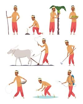 Indischer mähdrescher. bauer mensch in bangladesch büffel boden ernte arbeitsvektor menschen. harvester-ackerland, bunte indische landwirte, die landwirtschaft bewirtschaften Premium Vektoren